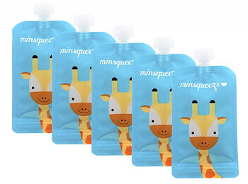 5-pack Minsqueeze Giraffe klämpåse 220 ml