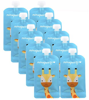 10-pack Minsqueeze Giraffe klämpåse 220 ml