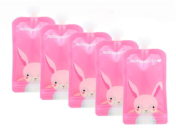 5-pack Minsqueeze Rabbit klämpåse 220 ml