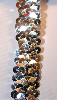 PALJETTBAND - silver 2 cm