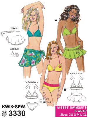 Bikini, kjol & wrap, XS-XL