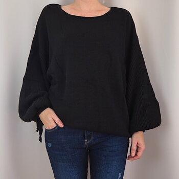 Stickad tröja med dragsko på ärm One Size SVART - Stajl Agenturer