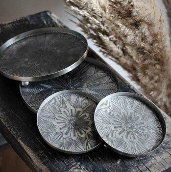 Metallfat Mandala Antik Silver (två storlekar) - Majas Cottage