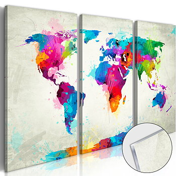 World Map: An Explosion of Colours [Glass]