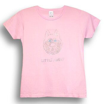 Little Husky Strass T-shirt till barn i rosa