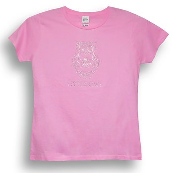 Little Owl Strass Mädchen-T-Shirt in Rosa