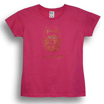Little Husky Strass Mädchen-T-Shirt in Pink