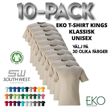 10-pack Unisex T-shirt Kings, South West Everywear, Organic & GOTS - 30 Different Color