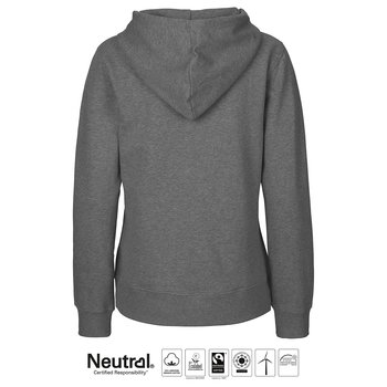 Hoodie med dragkedja - Dam - Neutral - Fairtrade & EKO GOTS - Dark Heather