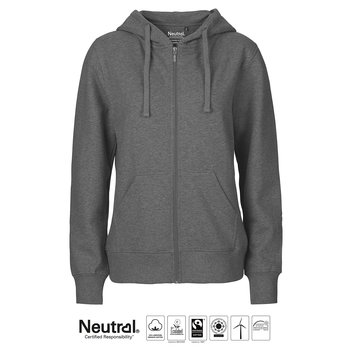 Ladies zip Hoodie, Dark Heather, Neutral, Fairtrade & EKO GOTS