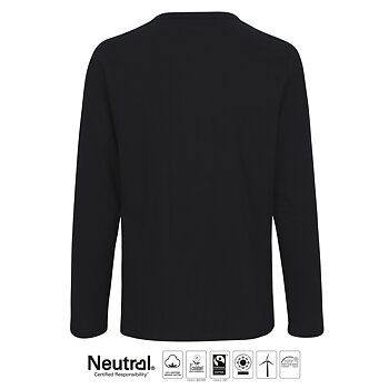 Mens Long Sleeve T-shirt, Black, Neutral, Fairtrade & EKO