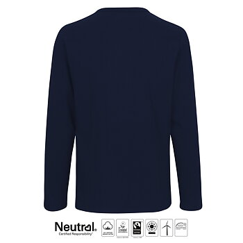 Mens Long Sleeve T-shirt, Navy, Neutral, Fairtrade & EKO