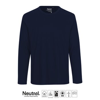 Mens Long Sleeve T-shirt, Navy, Neutral, Fairtrade & EKO GOTS