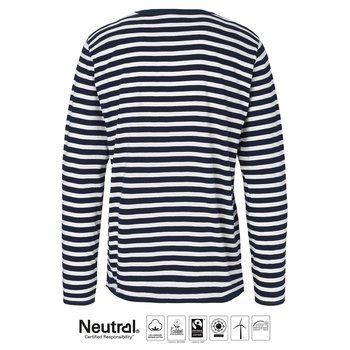 Mens Long Sleeve T-shirt, Stripe, Neutral, Fairtrade & EKO GOTS