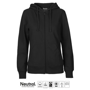 Ladies zip Hoodie, Black, Neutral, Fairtrade & EKO
