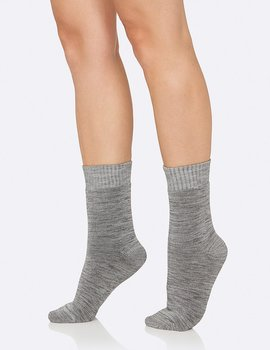 Women's Crew Boot Socks, Grey, Boody Bamboo Eco Wear, Organic - One Size 34-40