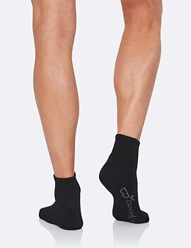 Men's Quarter Crew Sports Socks, Black, Boody Bamboo Eco Wear, Ekologisk - One Size