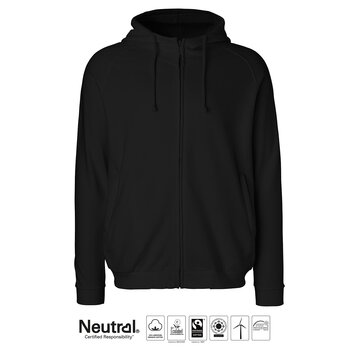Unisex Hoodie with Hidden zip, Black, Neutral, Fairtrade & EKO GOTS