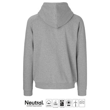 Unisex Hoodie with Hidden zip, Grey, Neutral, Fairtrade & EKO