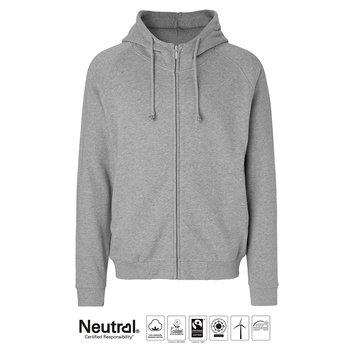 Unisex Hoodie with Hidden zip, Grey, Neutral, Fairtrade & EKO GOTS