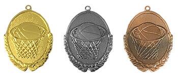 Medaljer Präglade ovala 50x30 mm - Basket - Pris inklusive valfri text på baksidan