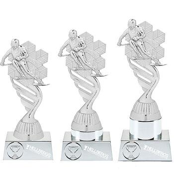 Utförsåkning statyett Silver - Inklusive sockel & skylt med text - 3 olika storlekar