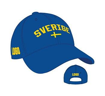 Sverigekeps #4012-SE med eget motiv - 2 olika färgkombinationer - Pris inklusive brodyr upp till 6000 stygn
