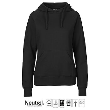 Ladies Hoodie Neutral, Black, Fairtrade & EKO GOTS