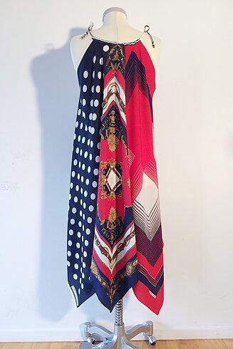 Scarfklänning ärmlös, röd/vit/blå