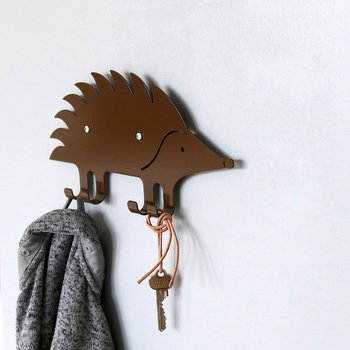 Wall Hook Hedgehog Brown