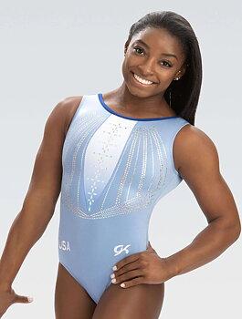 Gymnastikdräkt polyester/spandex med paljetter