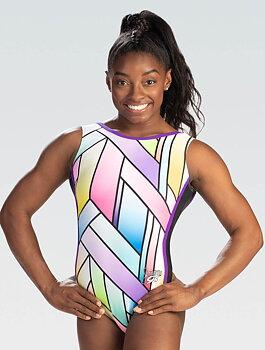Gymnastikdräkt sublimerat tyg signerad Simone Biles