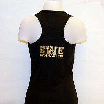Singlett med bryter-rygg -SWE Gymnastics i Glittertrykk