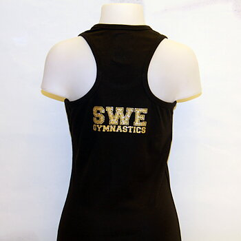 Linne med brottarrygg - SWE Gymnastics i glittertryck