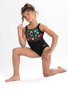 "Katelyn Ohashi Turn og Gymnastikk drakt""Pretty as a flower patch"" sublimert stoff & nylon/spandex"