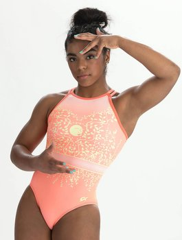 "Katelyn Ohashi Gymnastikdräkt ""Powerful Peach Workout"" sublimerat tyg & nylon/spandex"