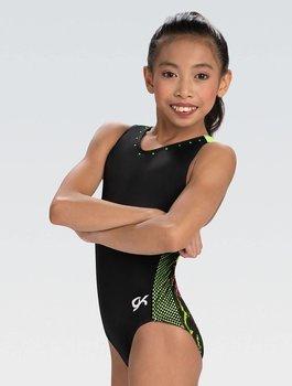 Gymnastikdräkt matt tricot, glittrigt tyg, mesh med gröna stenar