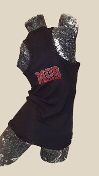 Singlett med bryter-rygg - NOR Gymnastics i Glittertrykk