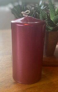 Blockljus Metallic Röd 7,5X 15cm