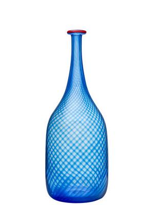 Red Rim Bottle Blue  - Kosta Boda