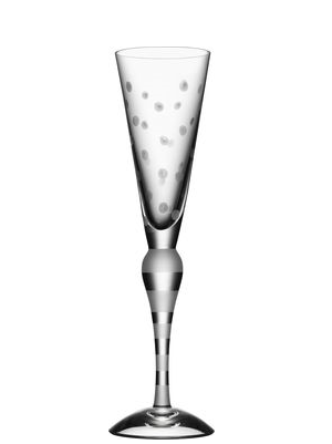 Clown Champagne Glass Frost Dots - Orrefors