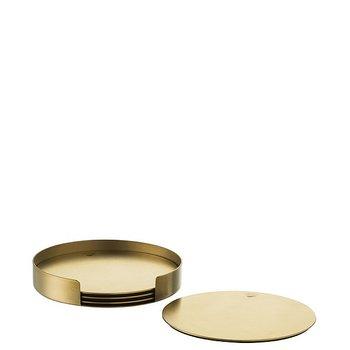 Peak Glasunderlägg Guld med hållare 4-pack