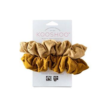 Scrunchies Kooshoo guld/sand 2-pack