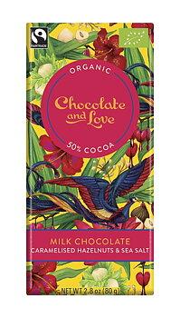 Chocolate and Love mjölkchoklad karamelliserad hasselnöt och havssalt 80 g