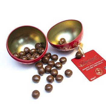 Divine chokladöverdragna Salt Pretzels i metallburk 60 g