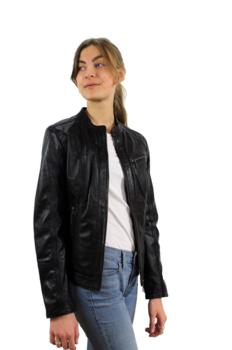 Lena Svart - Dam skinnjacka klassisk kort modell