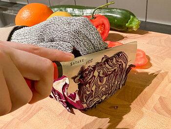 Satake barnkniv + skärsäker vante i presentlåda.