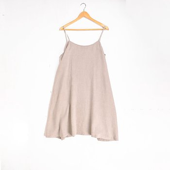 Natural linen slip dress