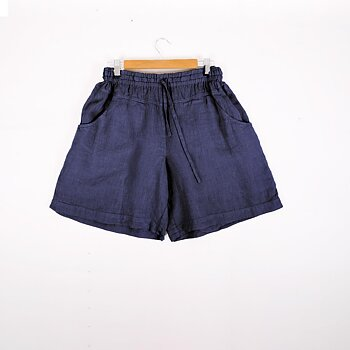 Blue navy -  linen shorts