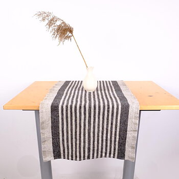 Black  - table runner - Provence -  washed